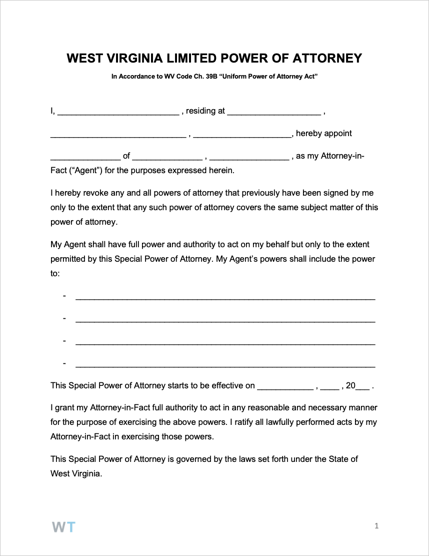 Free West Virginia Limited Special Power Of Attorney