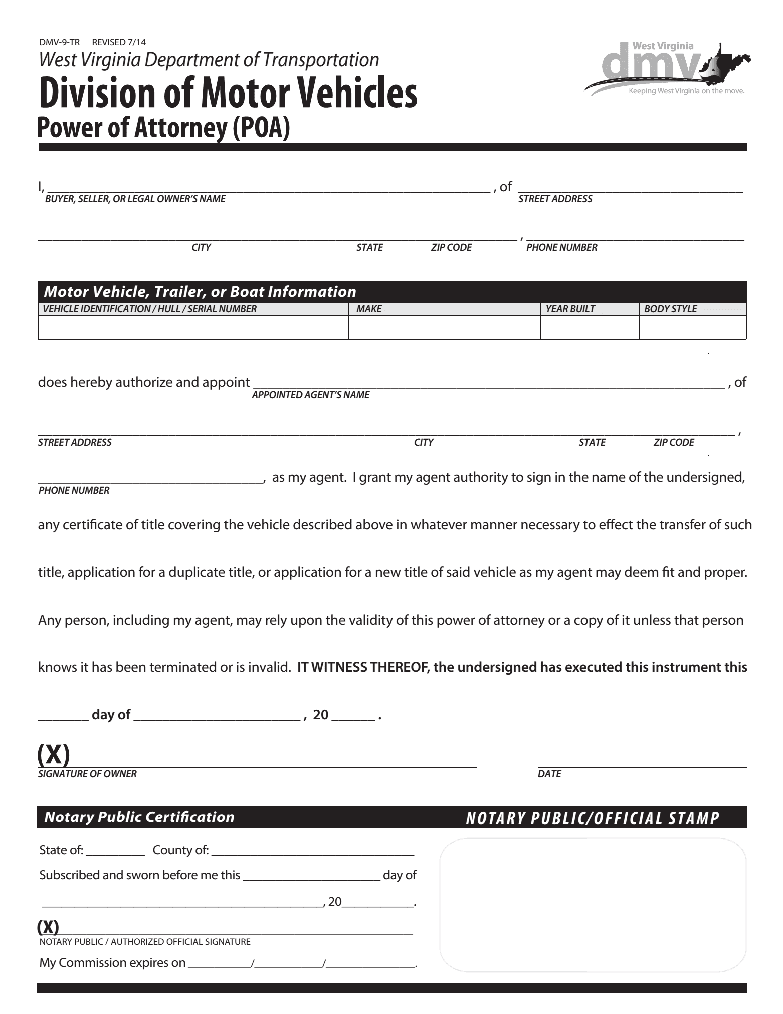 Free West Virginia Motor Vehicle Power Of Attorney Form