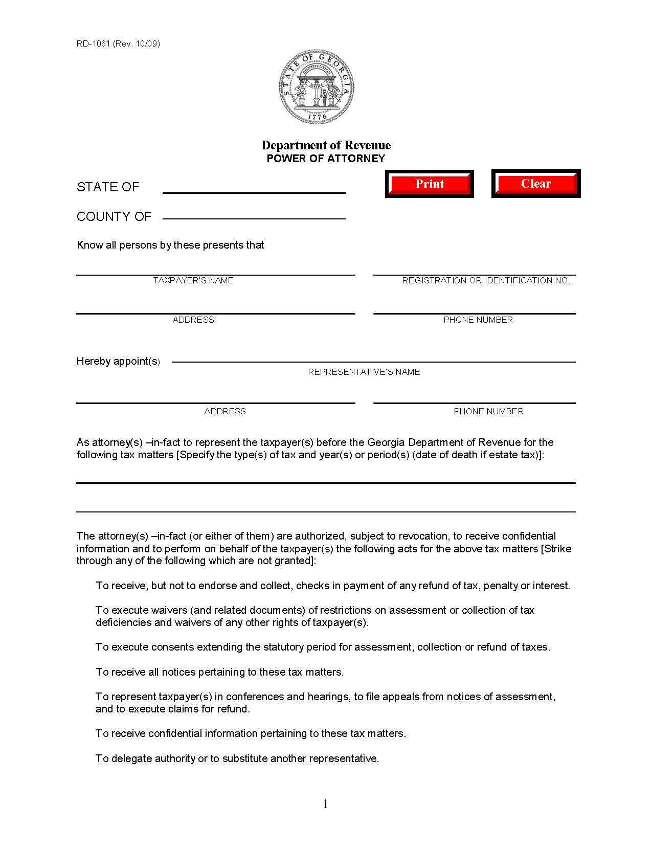 Georgia Tax Power Of Attorney Form 2 PDF PDF Format E