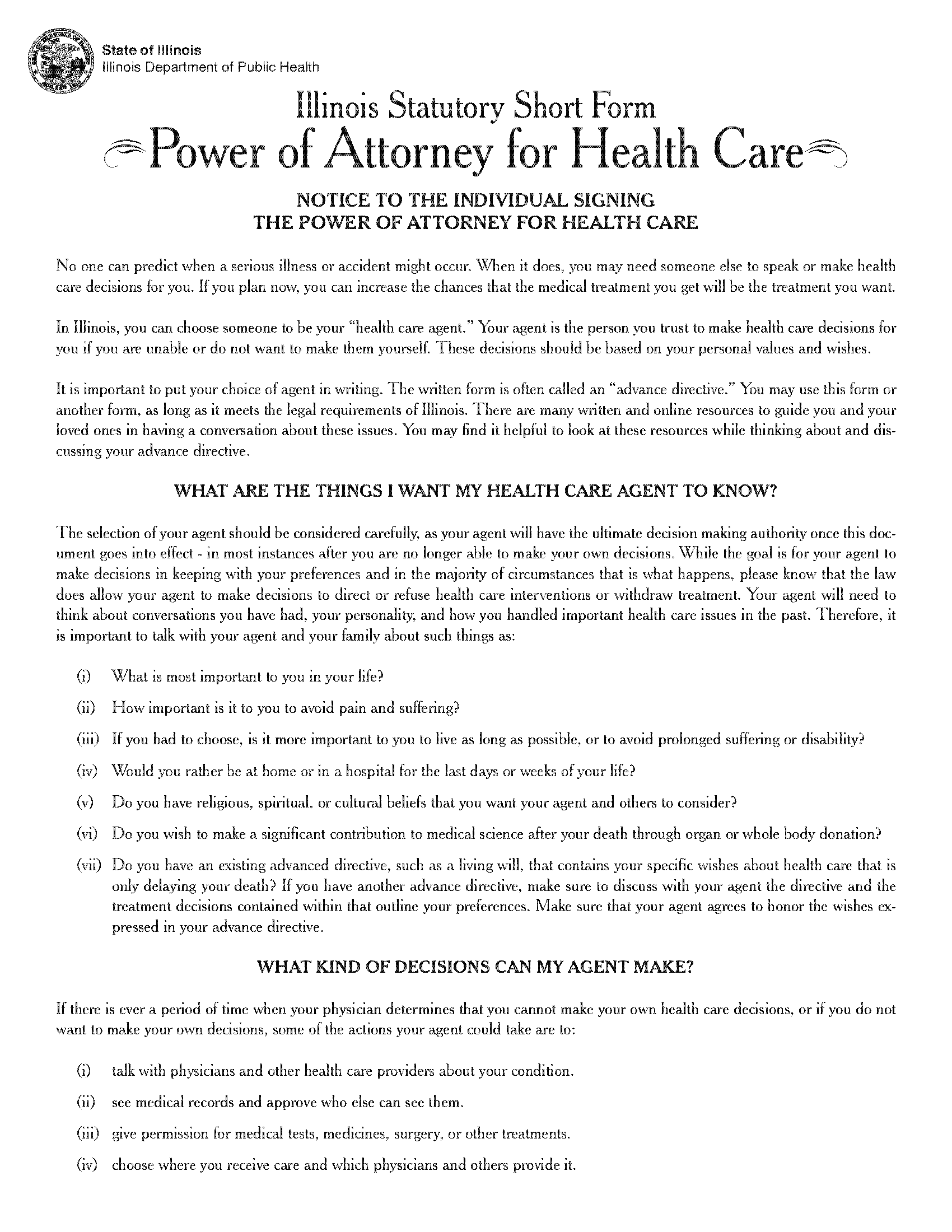 Illinois Medical Power Of Attorney Fillable PDF Free