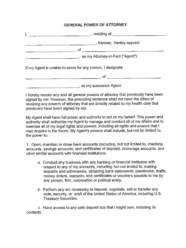 Kansas Power Of Attorney Form Free Templates In PDF