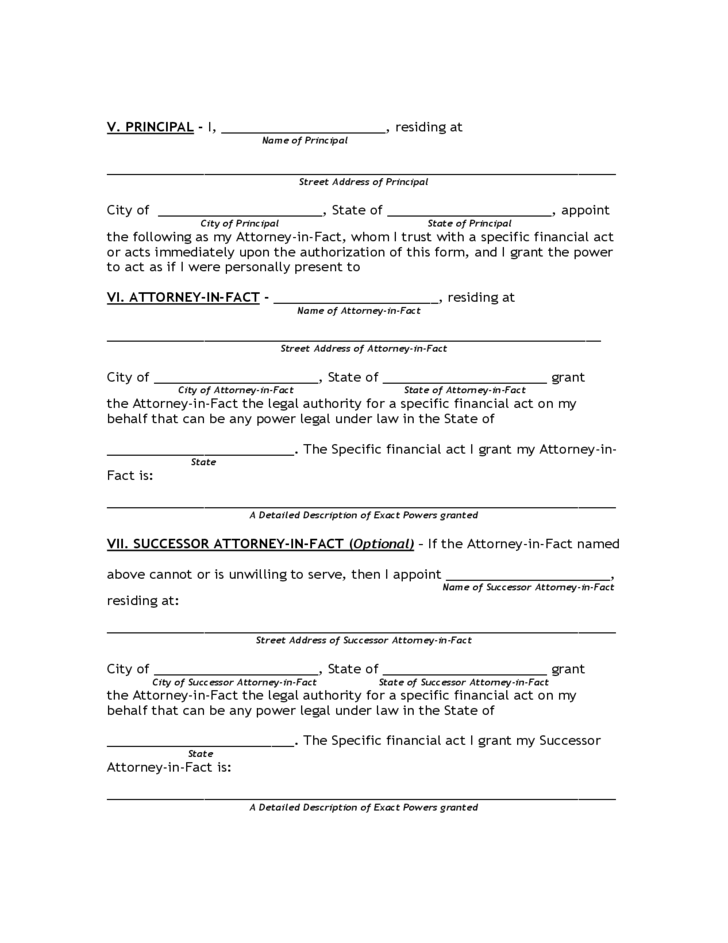Limited Power Of Attorney Form Florida Free Download