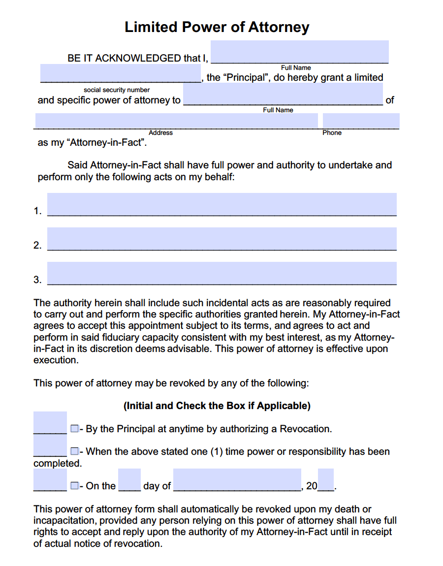 Limited Special Power Of Attorney Forms PDF Templates