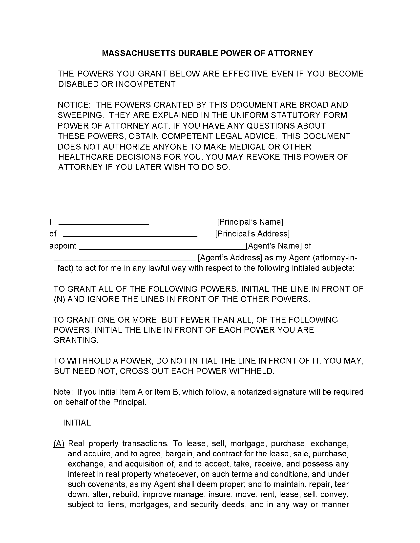 Massachusetts Durable Power Of Attorney Form Fillable