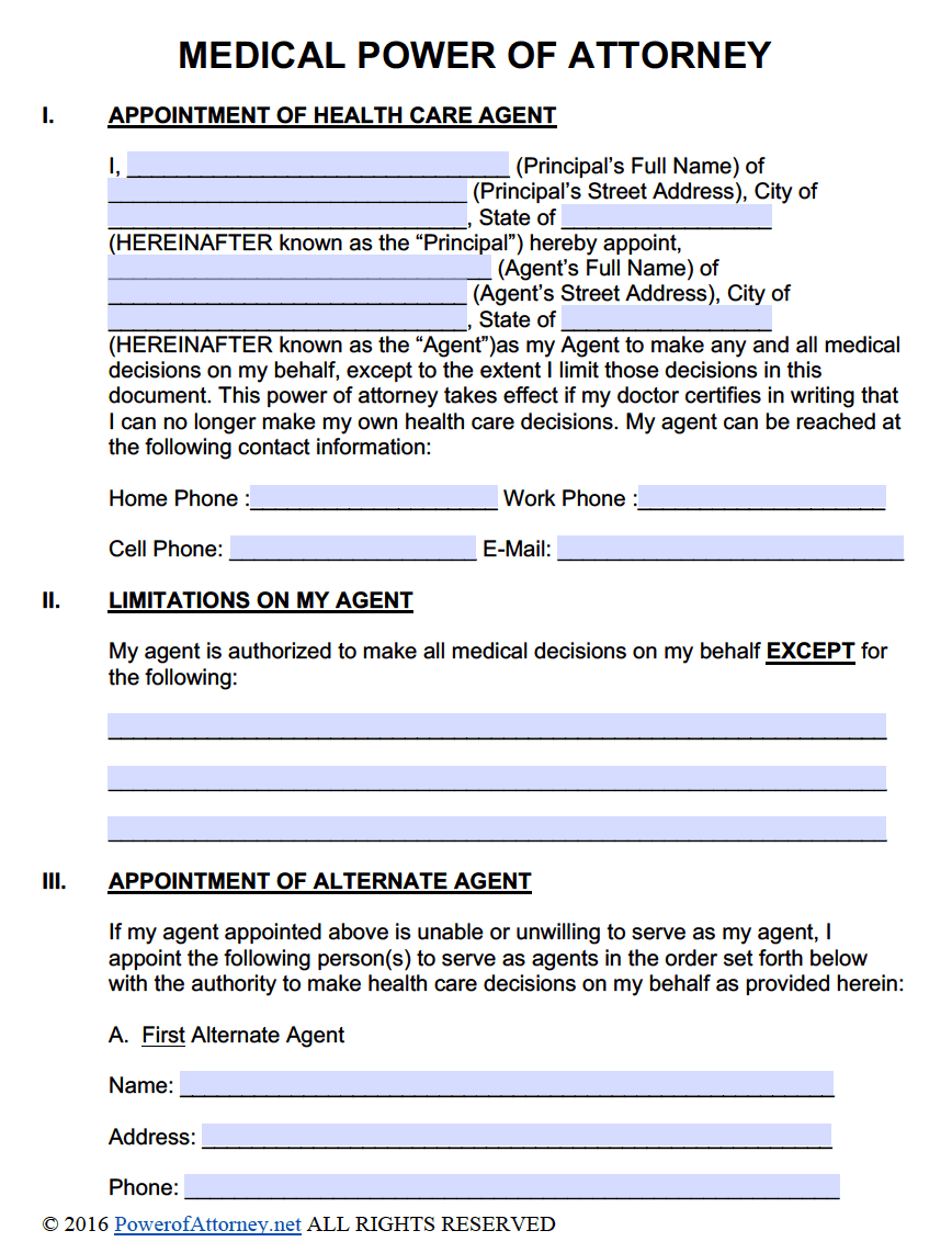 Medical Power Of Attorney Forms PDF Templates Power Of