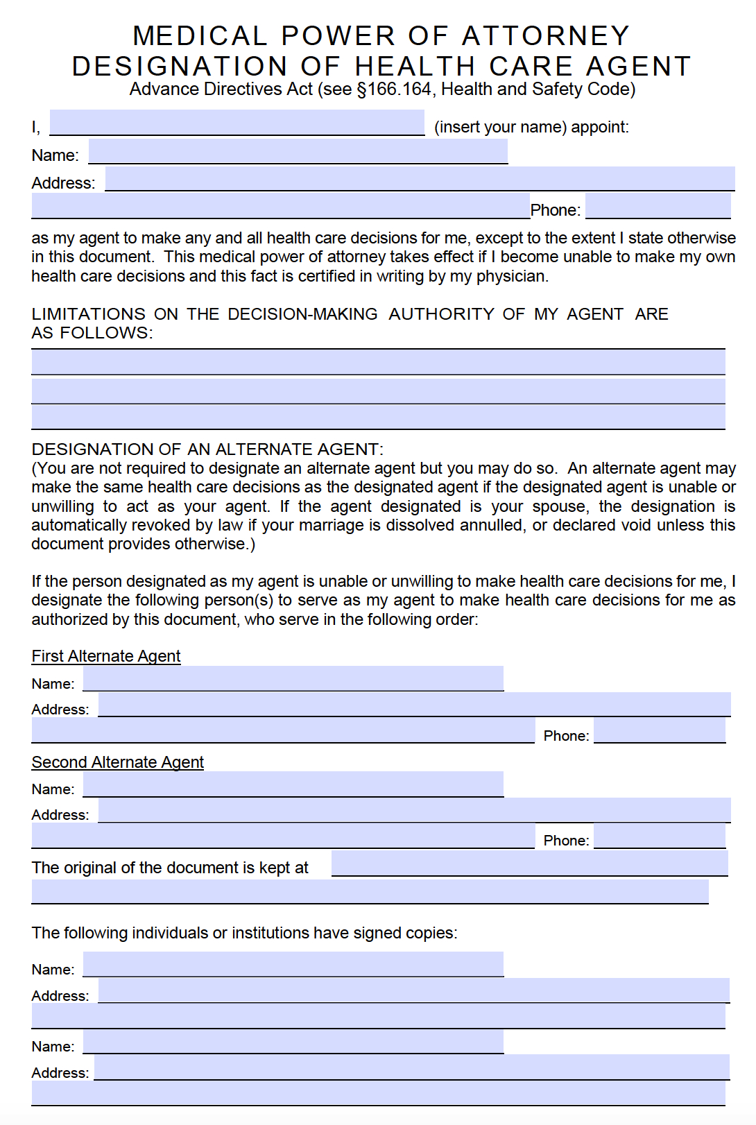 Medical Power Of Attorney Templates DANETTEFORDA