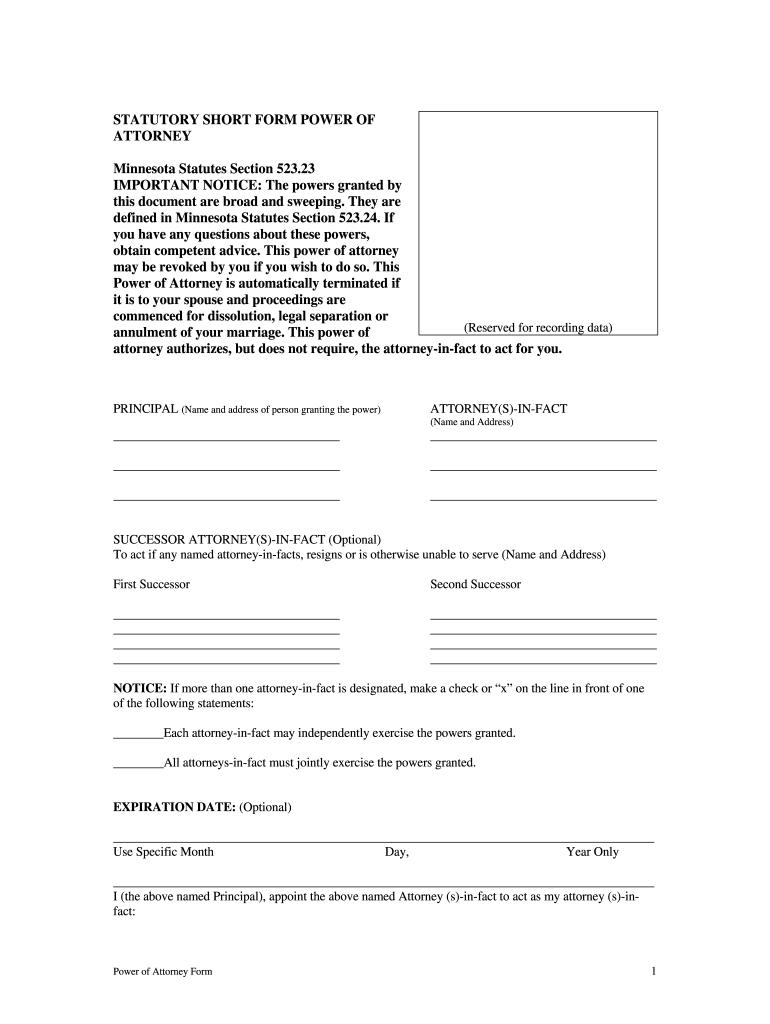 Minnesota Short Form Power Of Attorney Fill Online