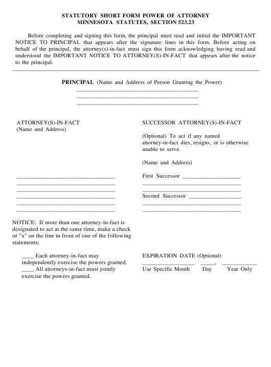 Minnesota Statutory Short Form Power Of Attorney Minnesota