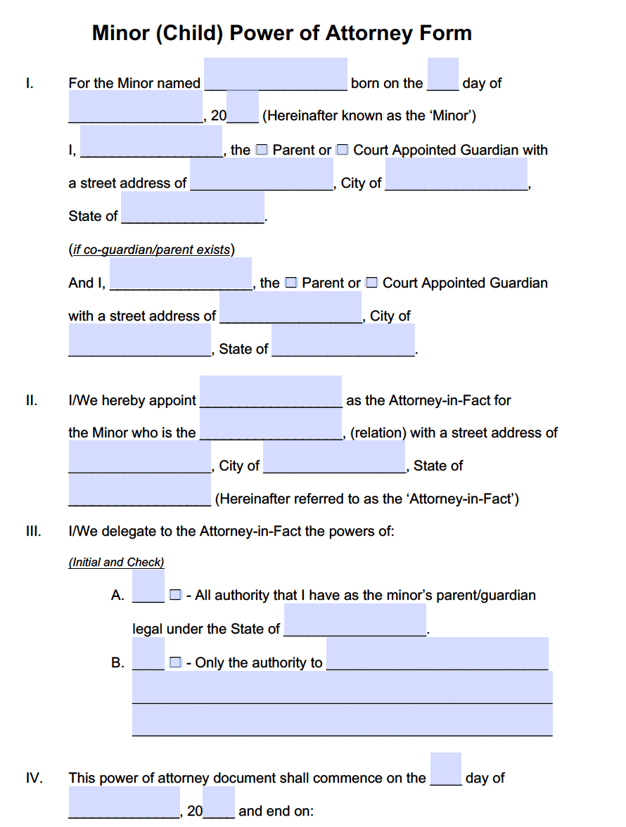 Minor Child Power Of Attorney Forms PDF Templates