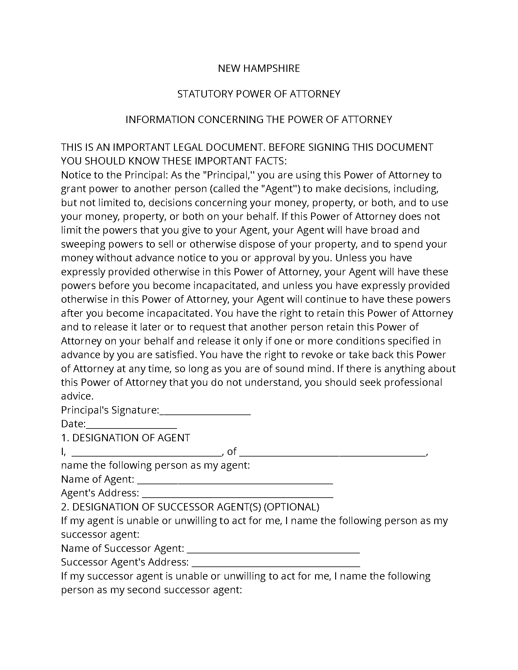 New Hampshire Durable Power Of Attorney Form Fillable