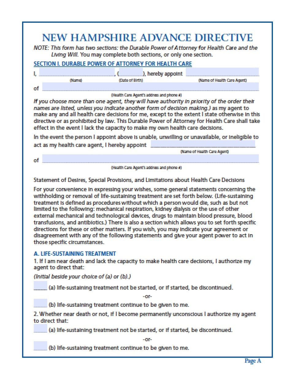 New Hampshire Medical Power Of Attorney Form Power Of