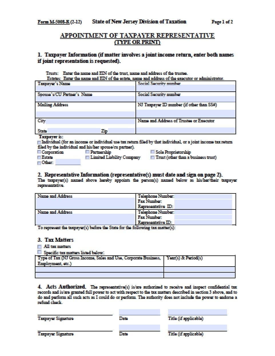 New Jersey Tax Power Of Attorney Form Power Of Attorney