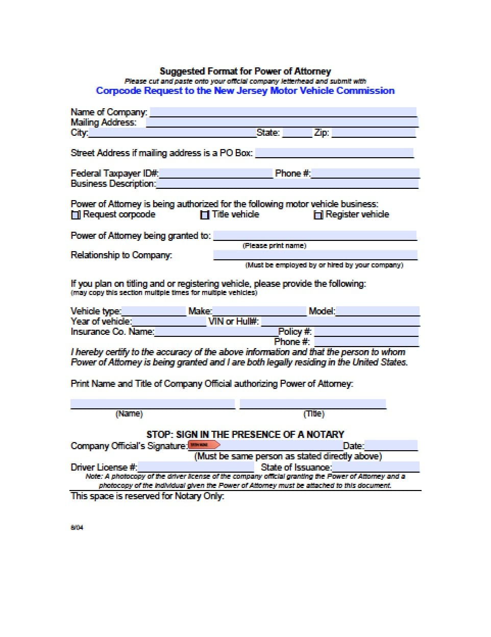 New Jersey Vehicle Power Of Attorney Form Power Of