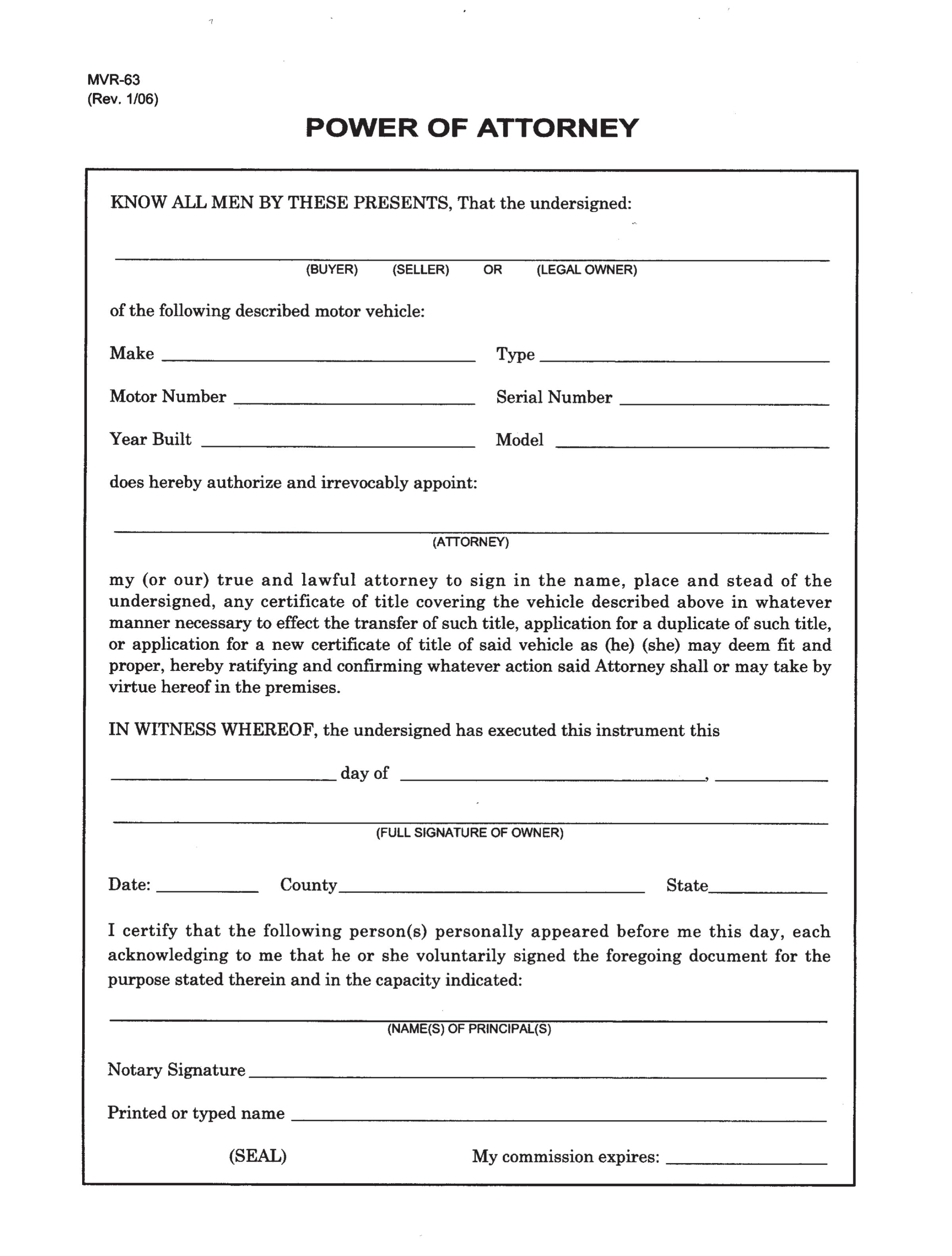 North Carolina Motor Vehicle Power Of Attorney Form MVR