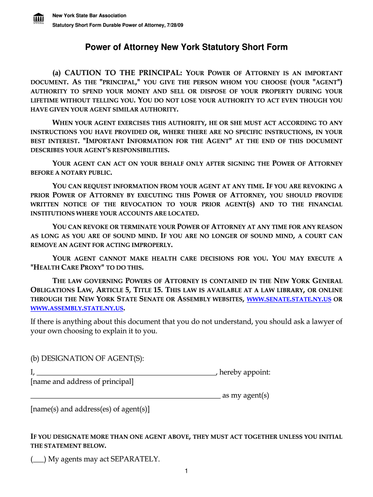 Nys Power Attorney Short Form Fill Online Printable