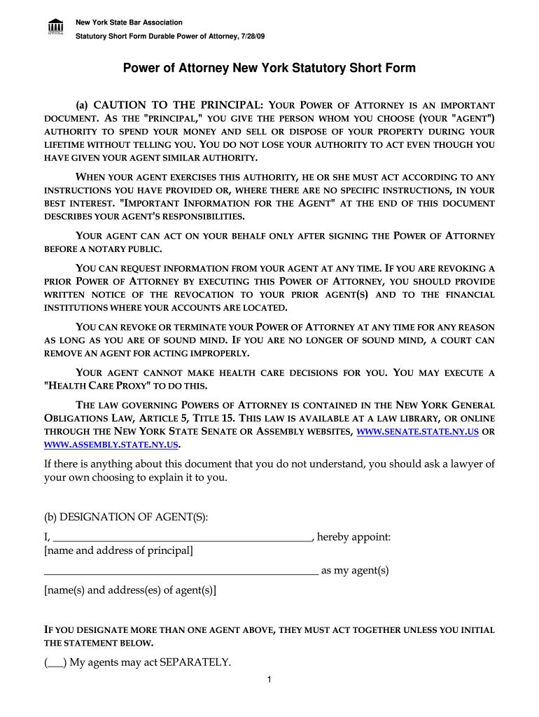 NYSBA Power Of Attorney Statutory Short Form Complete
