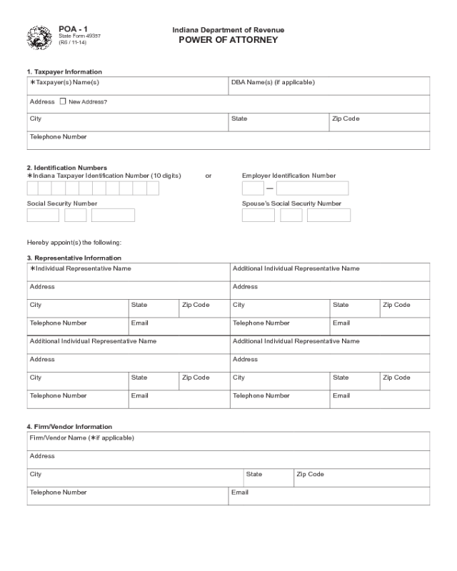 Power Of Attorney Example Form Indiana Edit Fill
