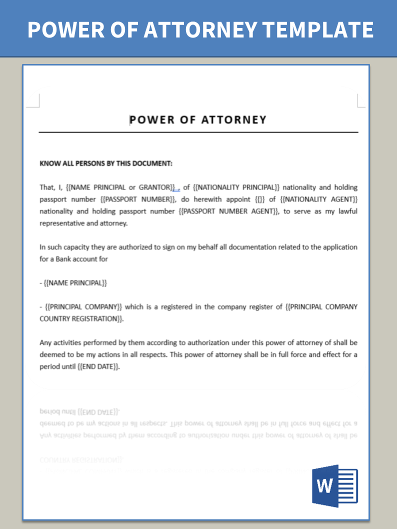 Power Of Attorney For Opening Bank Account Templates At
