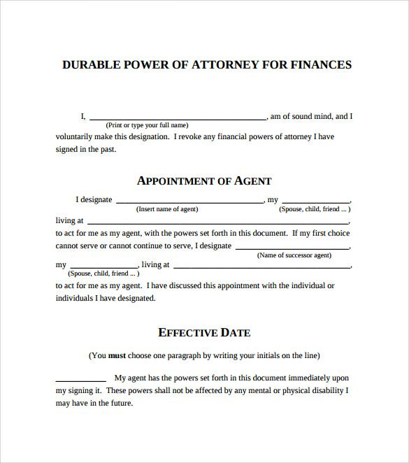 Power Of Attorney Form Free Printable Power Of Attorney