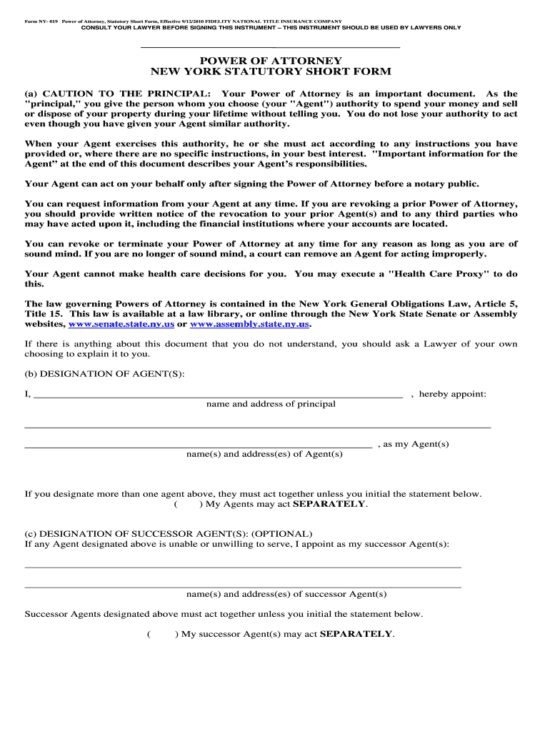 Power Of Attorney Form Ny Fill Out And Sign Printable