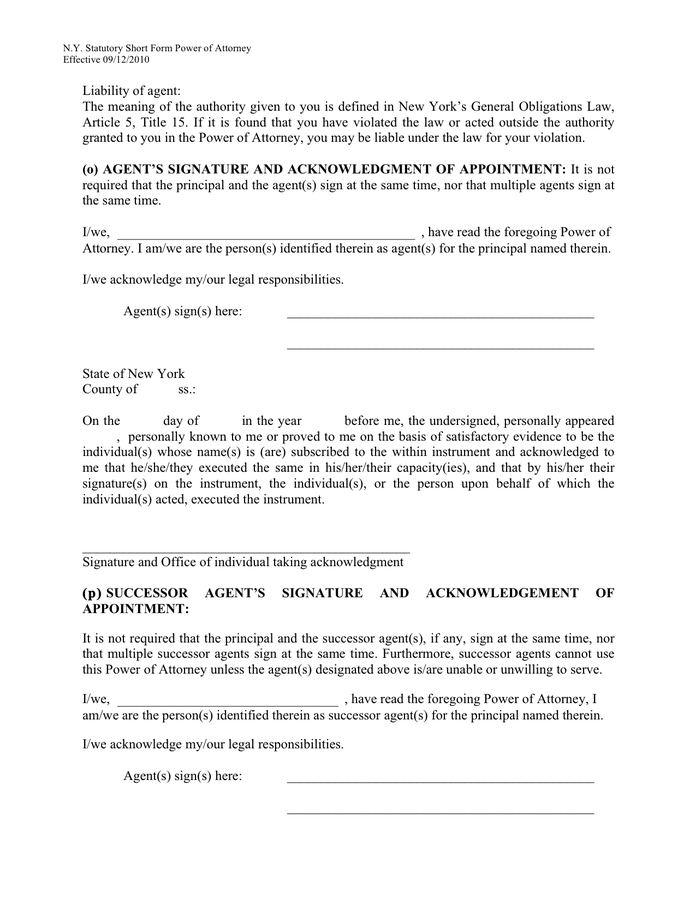 Power Of Attorney New York Statutory Short Form In Word
