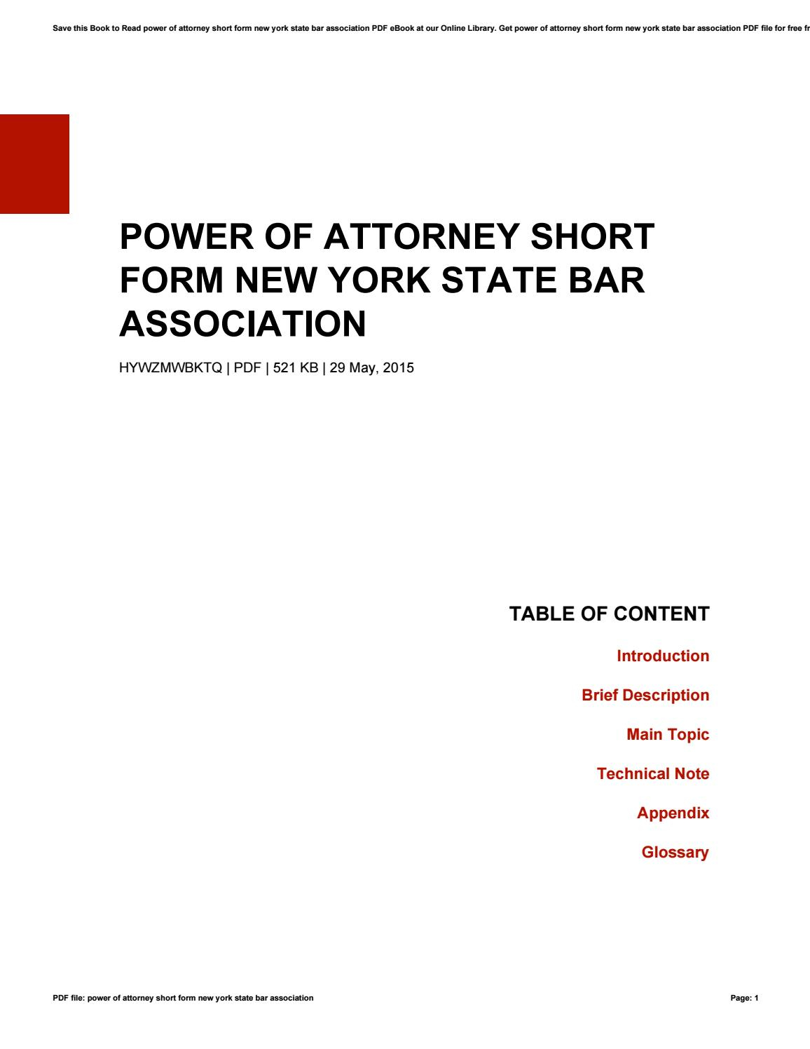 Power Of Attorney Short Form New York State Bar