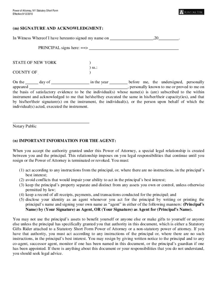 Power Of Attorney Statutory Short Form Sample New York