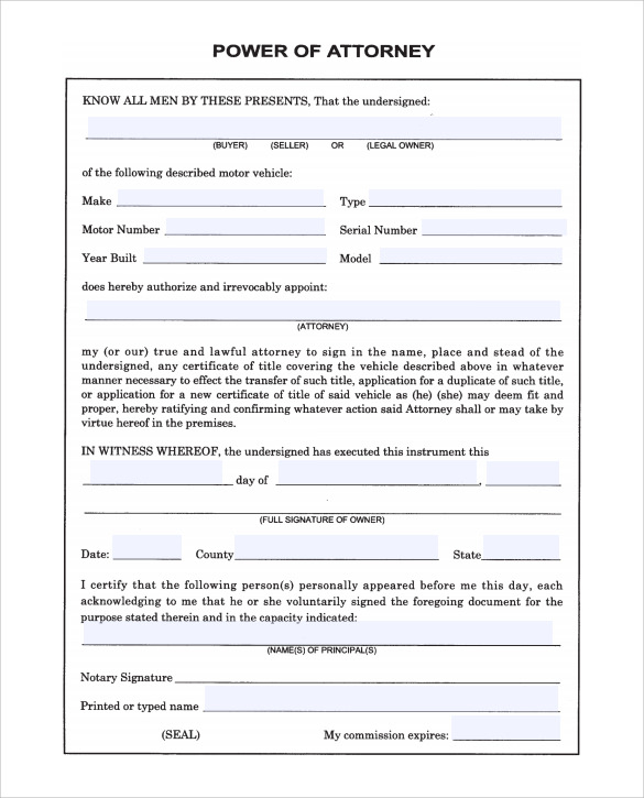 Printable Power Of Attorney Papers TUTORE ORG Master