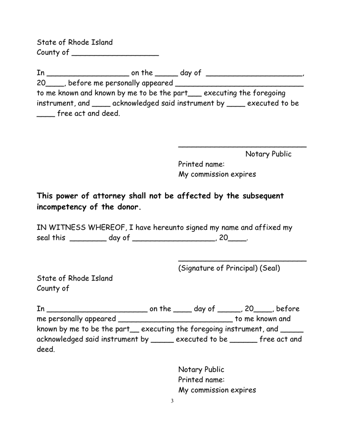 Rhode Island Short Form Power Of Attorney In Word And Pdf
