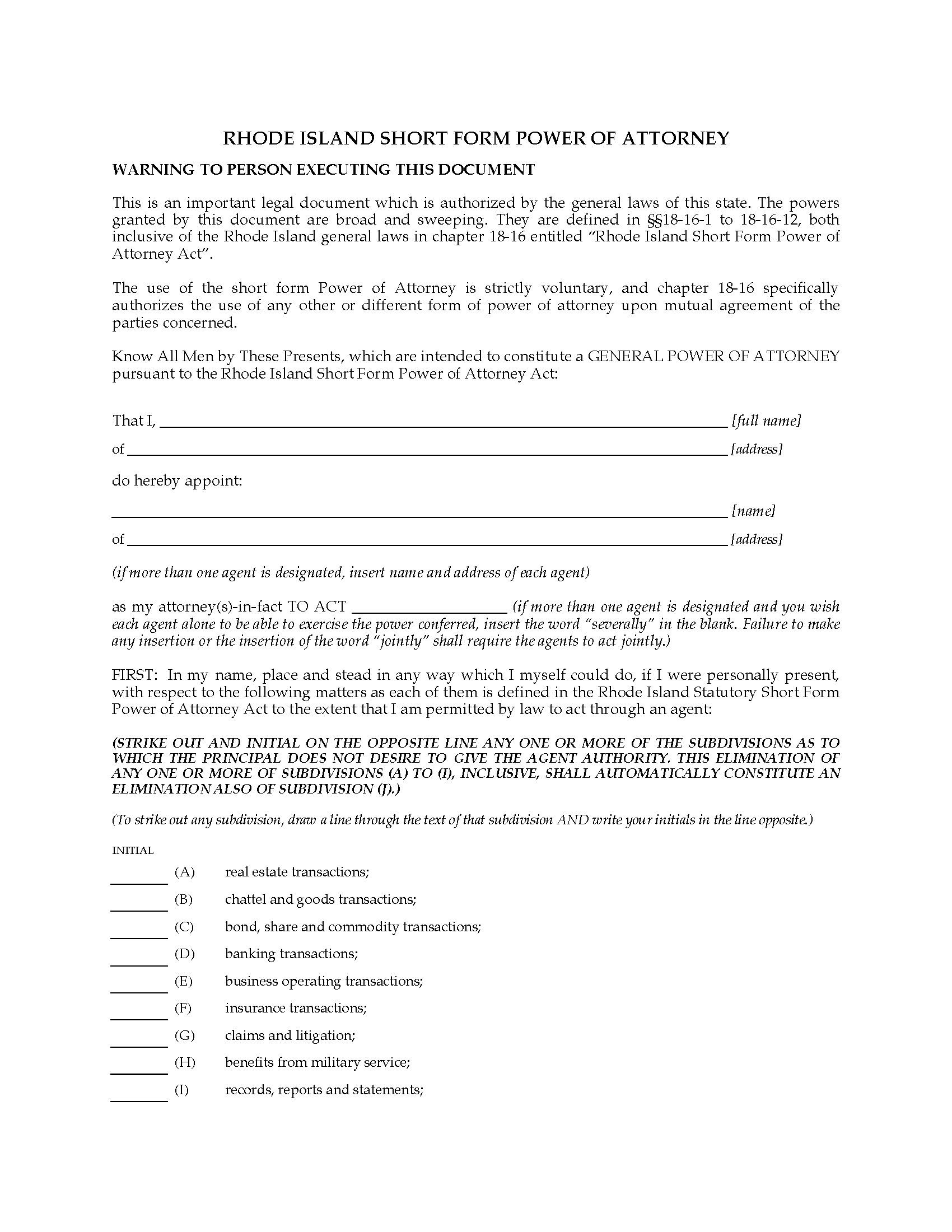 Rhode Island Short Form Power Of Attorney Legal Forms