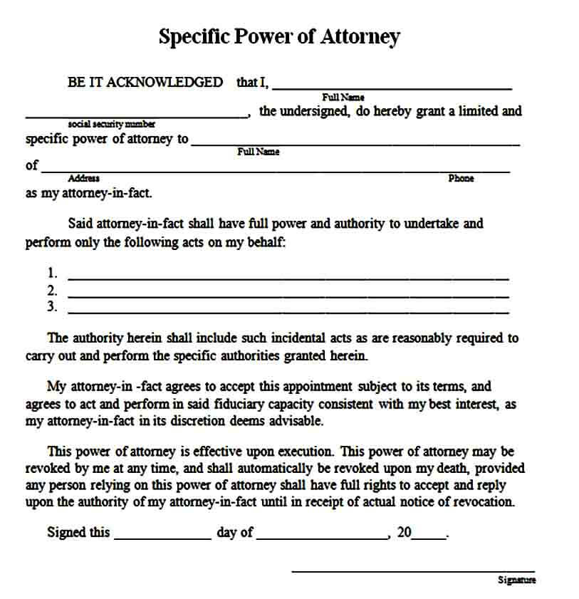 Sample Limited Power Of Attorney Form Mous Syusa