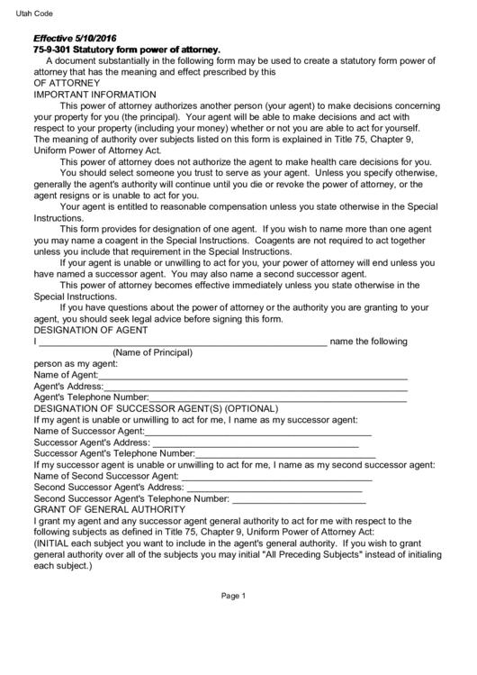 Statutory Form Power Of Attorney Utah Printable Pdf Download