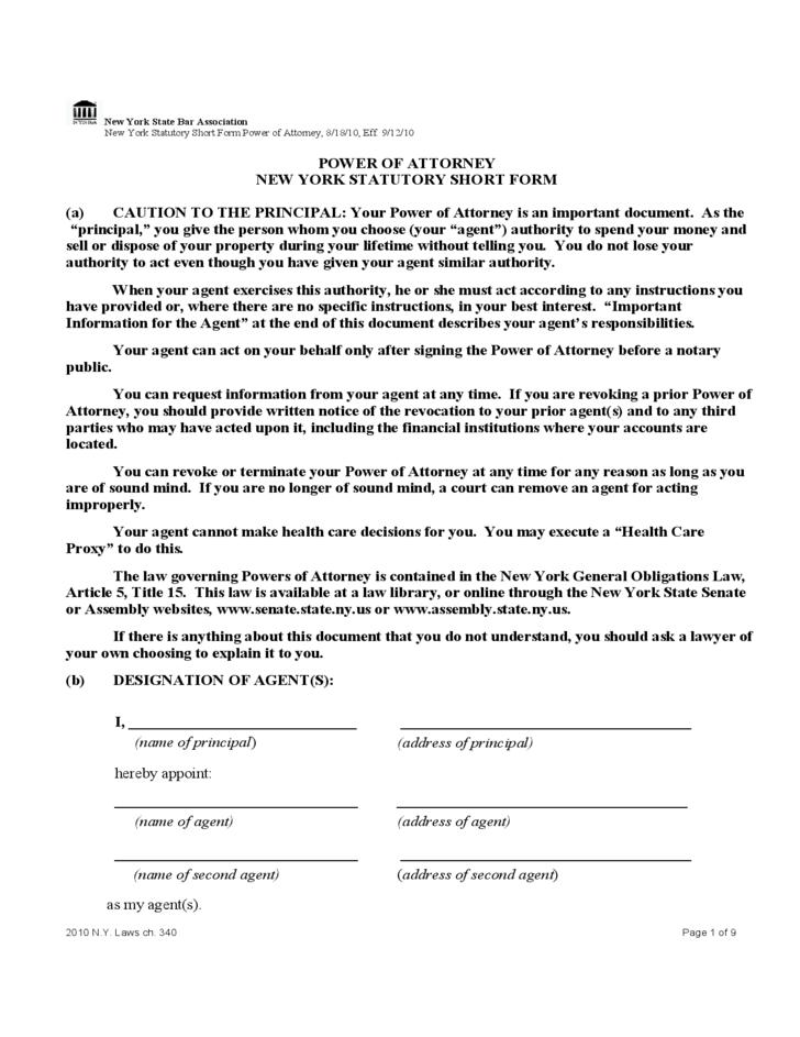 Statutory Short Form Power Of Attorney New York Free