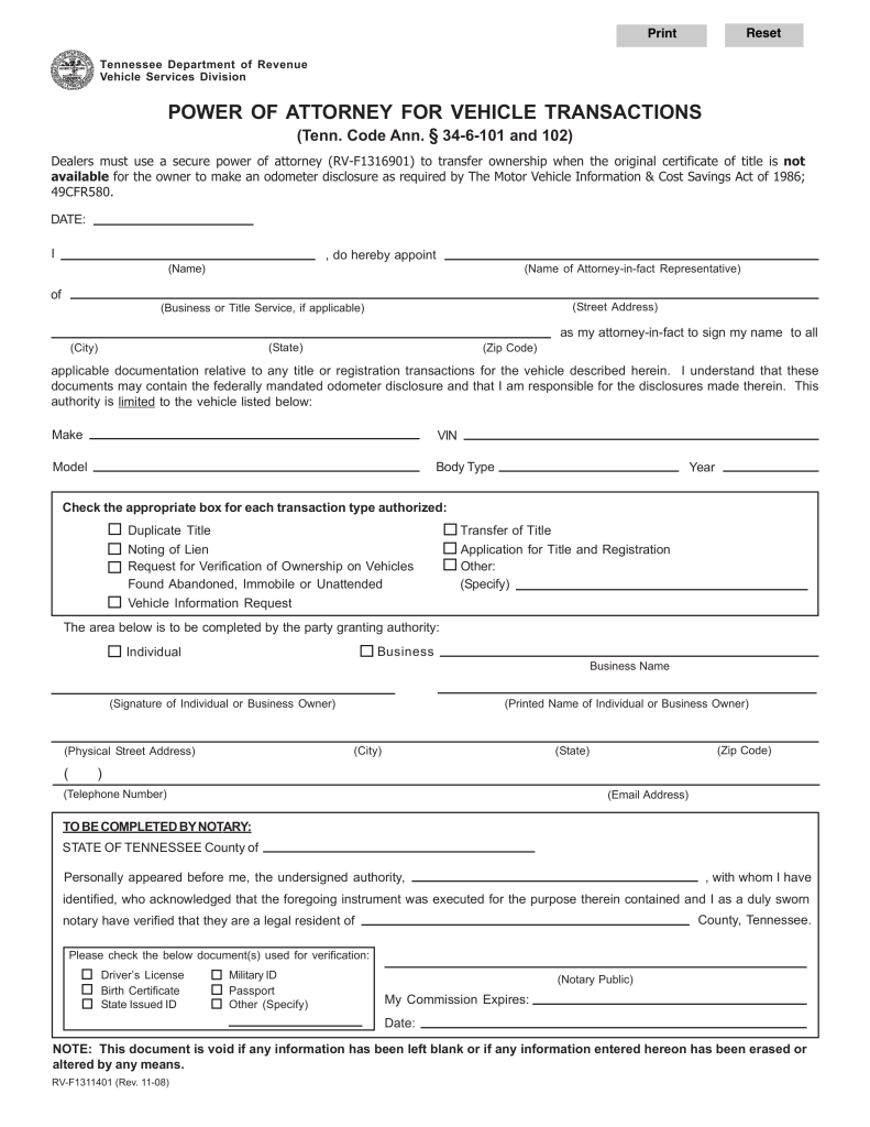 Tennessee Vehicle Power Of Attorney Form RV F1311401