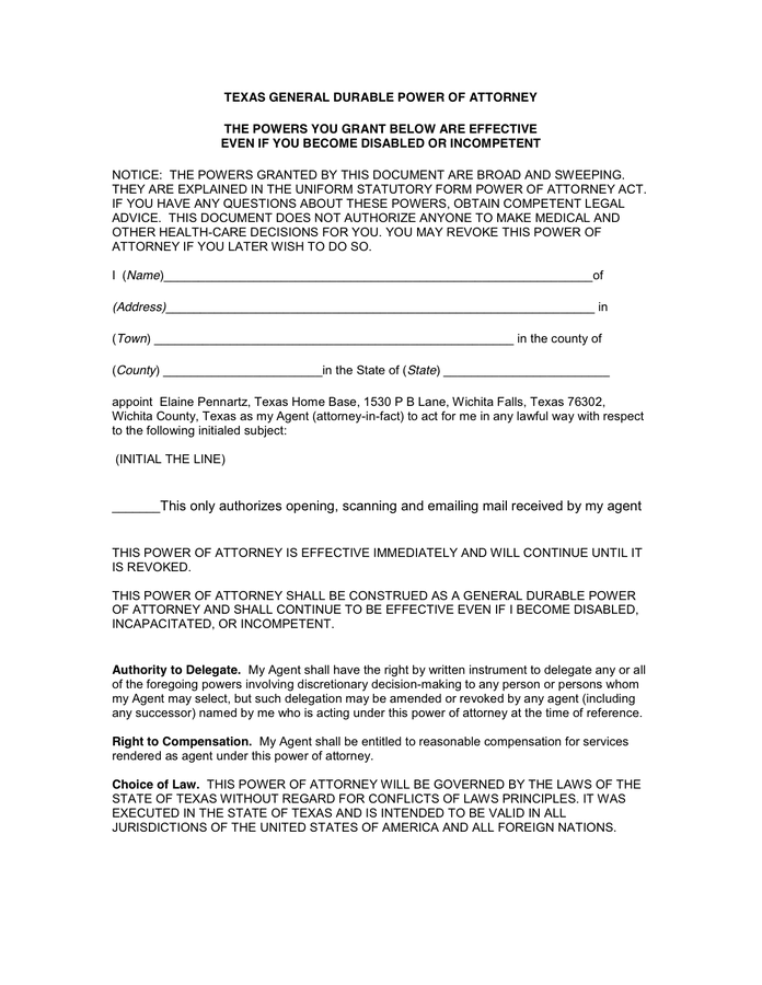 TEXAS GENERAL DURABLE POWER OF ATTORNEY In Word And Pdf