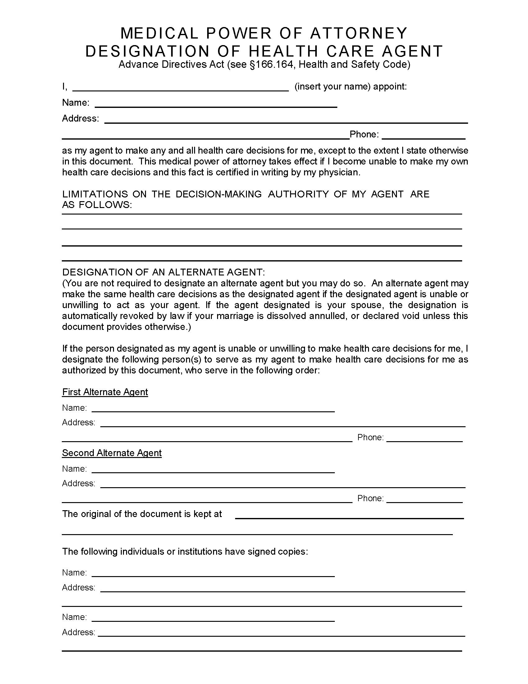 Texas Medical Power Of Attorney Fillable PDF Free