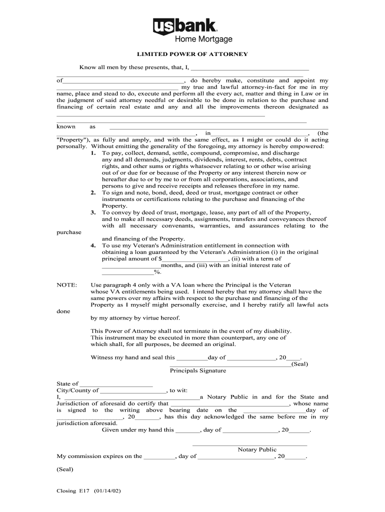 Us Bank Power Of Attorney Fill Online Printable