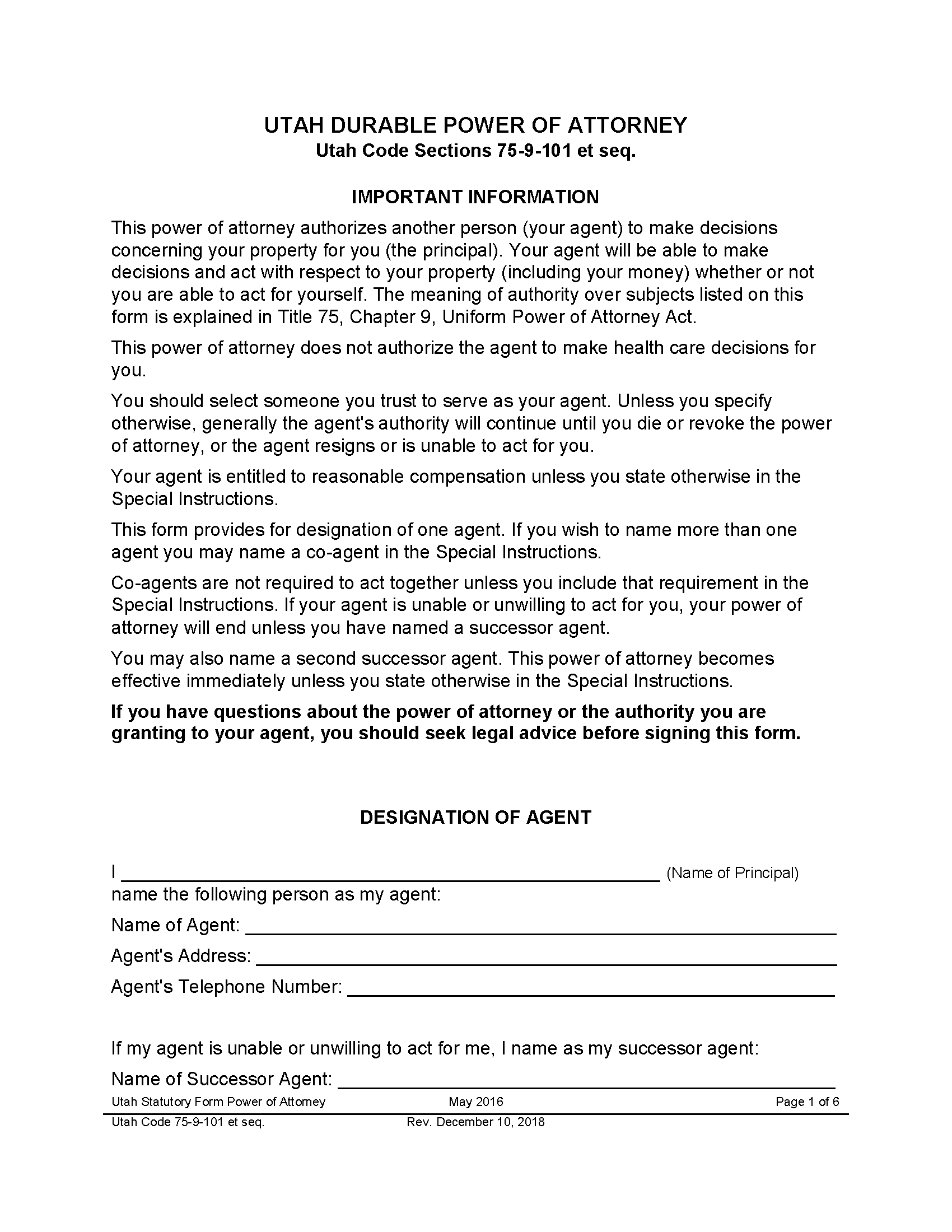 Utah Durable Power Of Attorney Form Fillable PDF Free