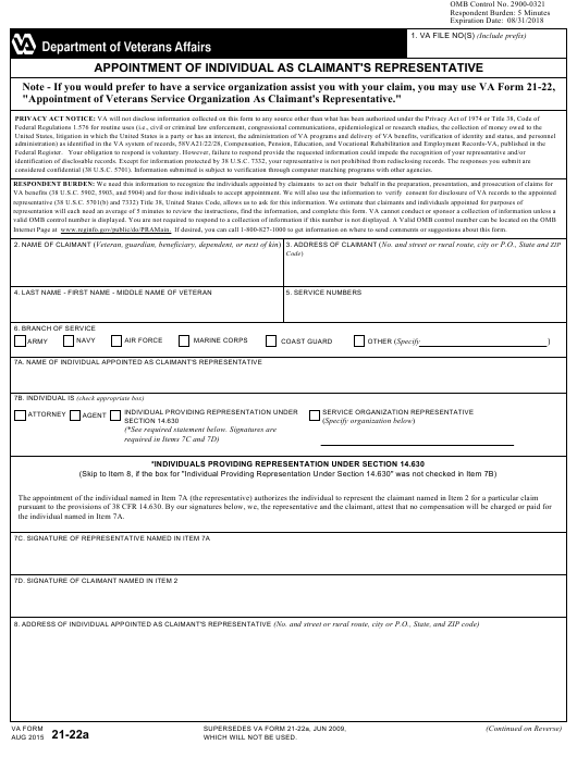 VA Form 21 22A Download Fillable PDF Appointment Of