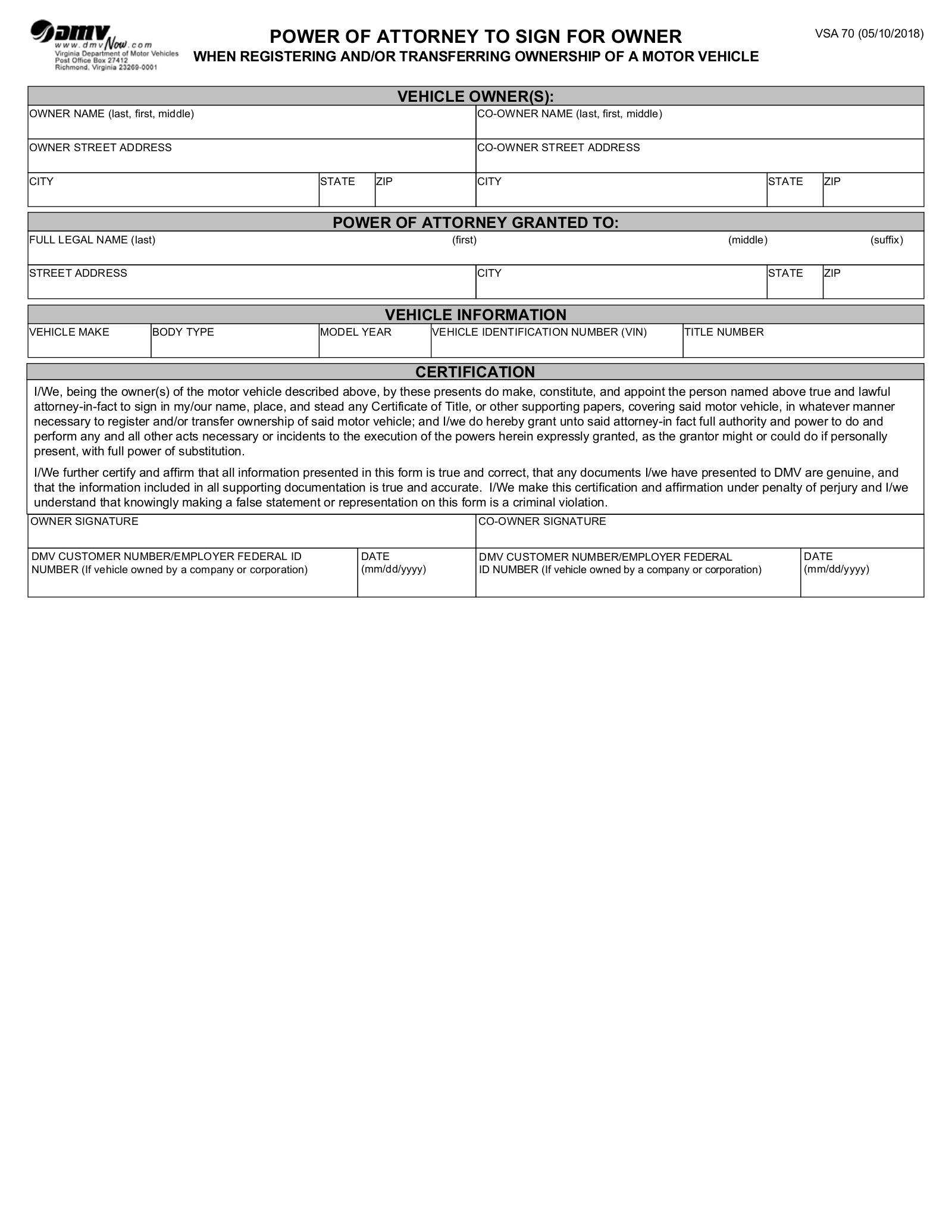 Virginia Motor Vehicle Power Of Attorney Form VSA 70