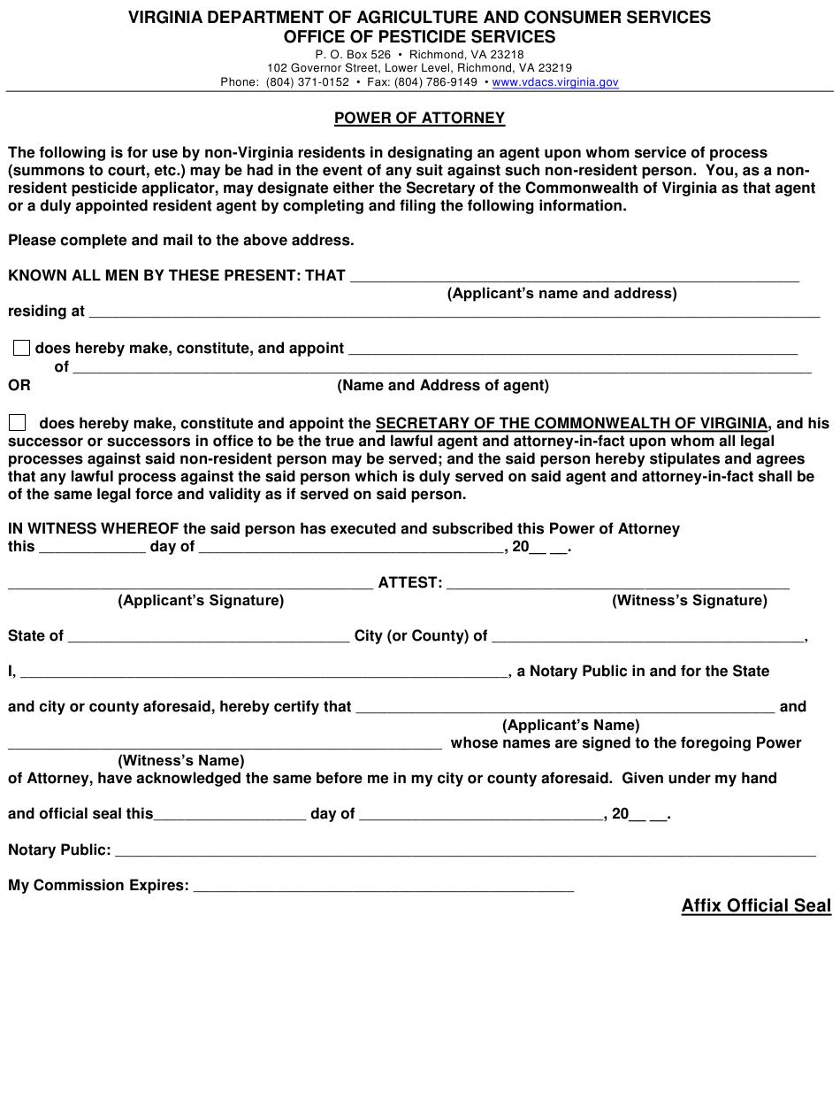 Virginia Power Of Attorney Download Printable PDF